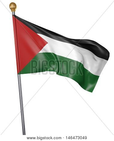 National flag for country of Palestine isolated on white background, 3D rendering