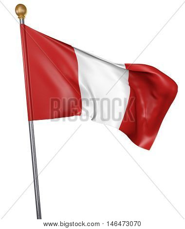 National flag for country of Peru isolated on white background, 3D rendering