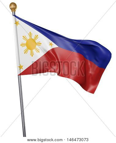 National flag for country of Philippines isolated on white background, 3D rendering