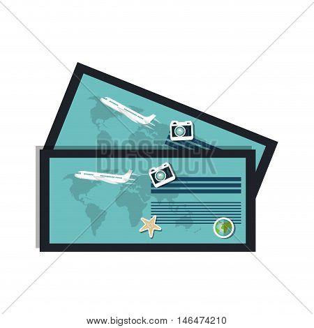 ticket airlplane passenger paper boarding pass. vector illustration