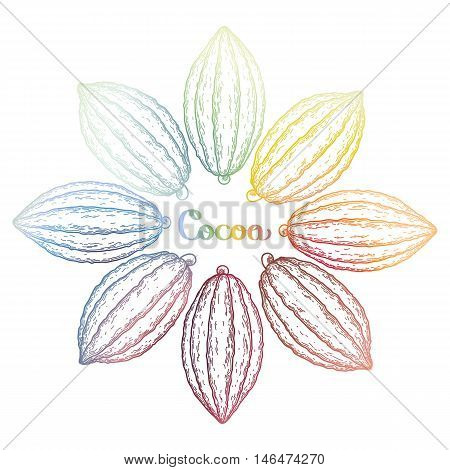 Watercolor cocoa fruit collection isolated on white background. Hand drawn exotic cacao plants in different color