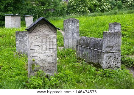 Old Jewish cemetery beside the Remuh Synagogue in the Kazimierz Jewish district of Krakow. Poland.