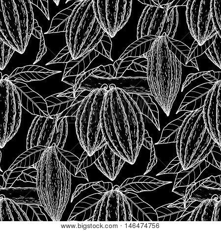 Graphic cocoa fruits on the branches. Hand drawn exotic cacao plants. Vector seamless pattern