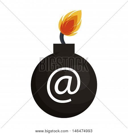 bomb with symbol and fire flame. danger weapon. vector illustration