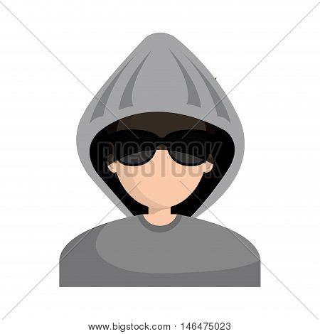 avatar man cartoon hacker digital criminal wearing gray hoodie and black glasses.  vector illustration