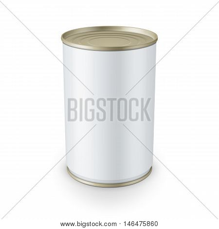 White glossy tin can isolated on white background Vector illustration. Packaging collection.