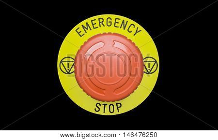 The Emergency stop button Disaster protection parts in factory.