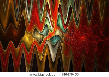 Abstract psychedelic waves on black background. Computer-generated fractal in red green brown yellow and orange colors.