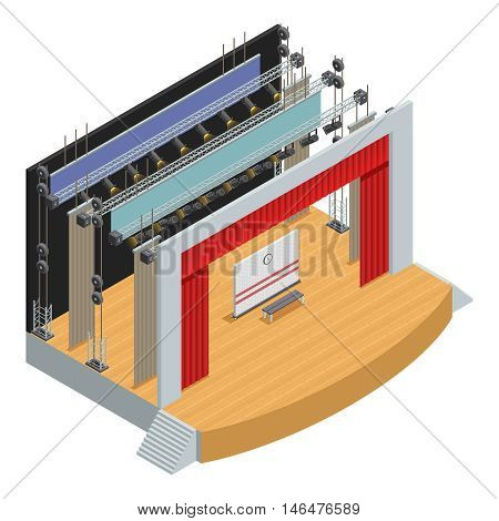 Stage for theater scenes with scenery decor elements and loop system for curtains isometric poster vector illustration