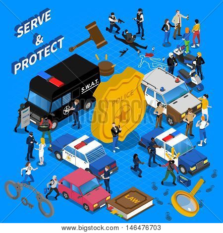 Color isometric composition all police services policeman car court vector illustration