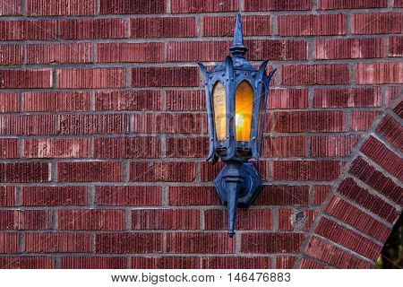Red Brick Wall Pattern for Background with old lamp