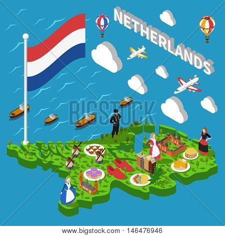 Color isometric map of holland depicting landmarks nethtrlands cheese cuisine shoe mill vector illustration