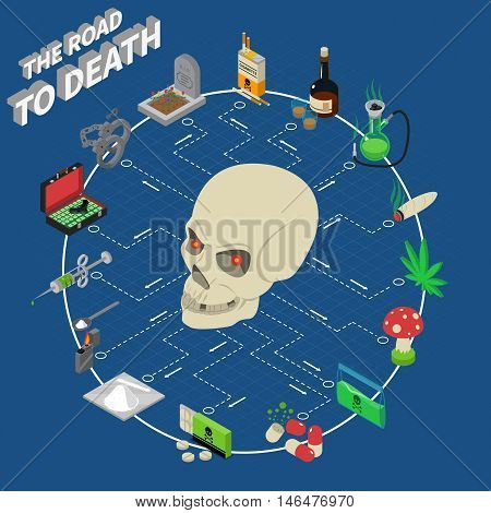 Drugs isometric flowchart with skull and deadly addiction symbols vector illustration