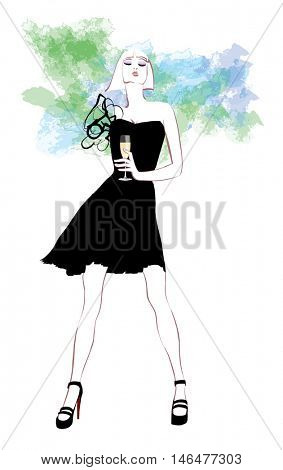Woman in evening dress with glass of champagne - vector illustration