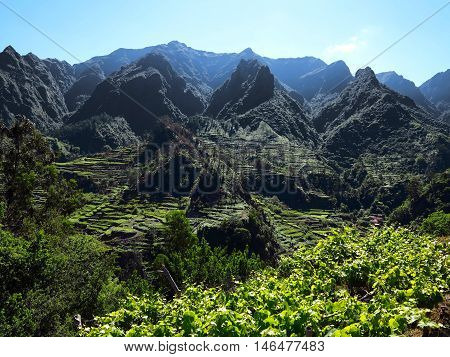Landscape of the island of Madeira in the Atlantic Ocean. Photo taken in the south to Sao Vicente with the vineyards and mountains. Natural colors and light.