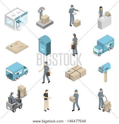 Post office service isometric icons collection with parcels packages and letters transportation and delivery isolated vector illustration