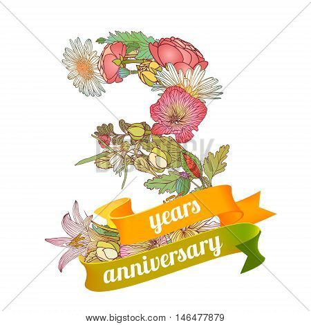 three (3) years anniversary sign of floral digits