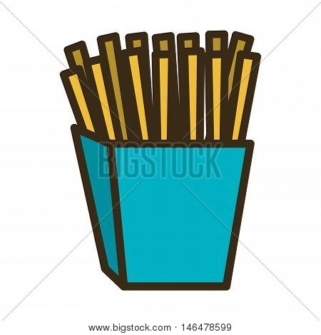 blue box with french potato fries fast food. vector illustration