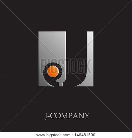 Vector sign initial letter J on black background