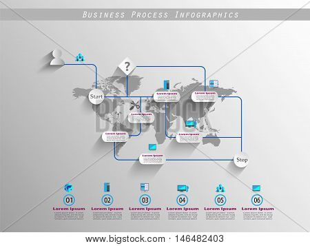 Business process infographics with reusable icon collection