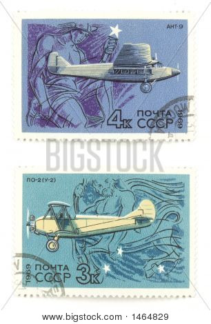 Old Russian Airplanes On Stamps