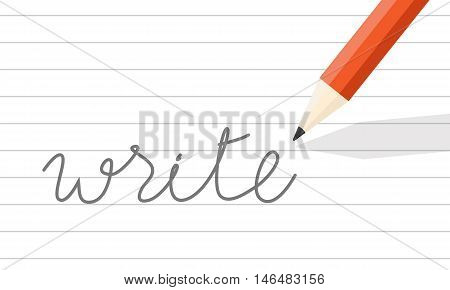 orange wooden pencil write on line paper. the word
