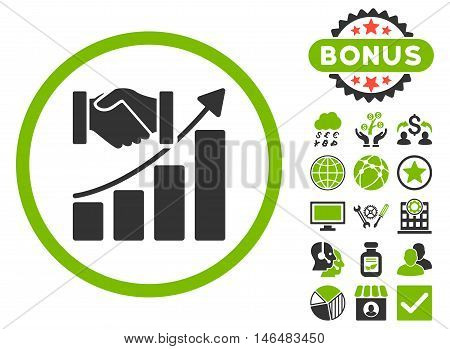 Acquisition Growth icon with bonus. Vector illustration style is flat iconic bicolor symbols, eco green and gray colors, white background.