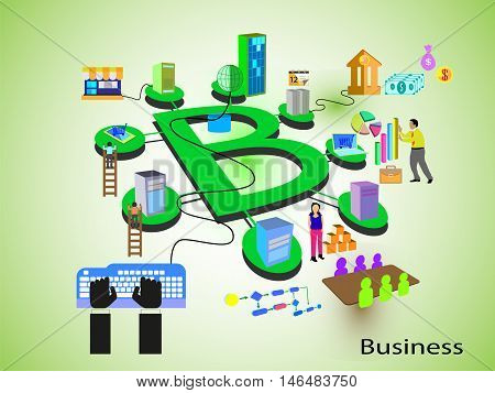 Concept of Business. Different systems like banking, employee, retail, support, sales and management teams and systems connected through a business process, represented in an alphabet letter B fashion