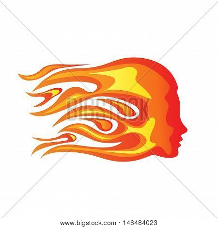 Vector sign fiery woman concept of passion