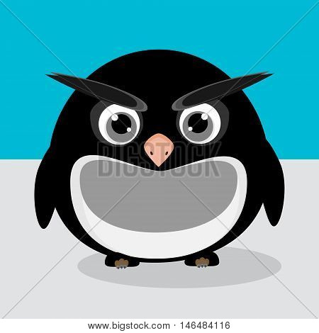 Abstract cute angry pinguin on a blue background. Funny image.