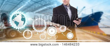businessman holding clipboard and telephone ,supply chain management logistics concept