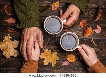 Old age concept. Old people holding hands. Closeup. The senior people hand holding a cup of coffee on wooden rustic table covered with autumn leaves.