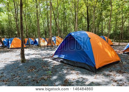 camping and tents tents set up in campsite outdoor exercise concept