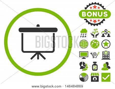 Projection Board icon with bonus. Vector illustration style is flat iconic bicolor symbols, eco green and gray colors, white background.