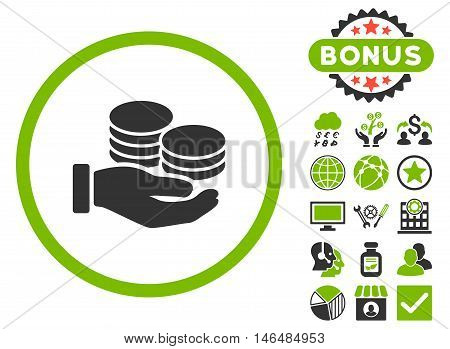 Salary Coins icon with bonus. Vector illustration style is flat iconic bicolor symbols, eco green and gray colors, white background.