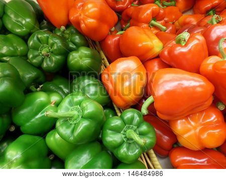 Pile of Fresh Green and Red Bell Pepper