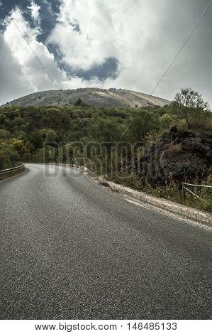 Road to notorious Mt Vesuvius, summit visible