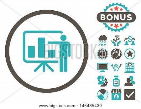 Bar Chart Presentation icon with bonus. Vector illustration style is flat iconic bicolor symbols, grey and cyan colors, white background.