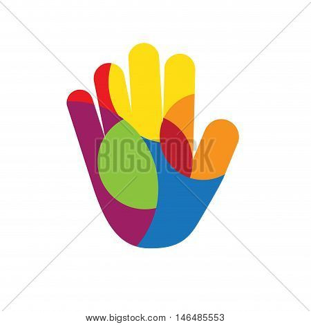 Vector logo hand with colored circles illustration