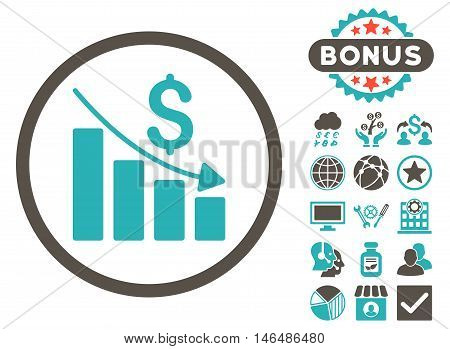 Recession Chart icon with bonus. Vector illustration style is flat iconic bicolor symbols, grey and cyan colors, white background.