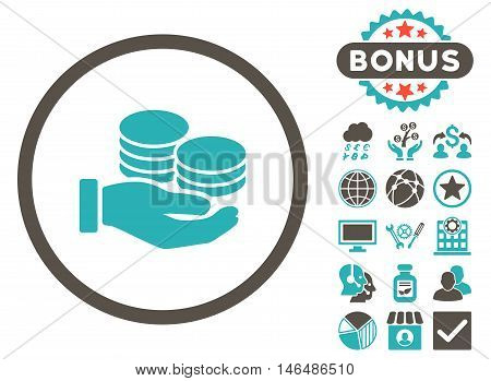 Salary Coins icon with bonus. Vector illustration style is flat iconic bicolor symbols, grey and cyan colors, white background.