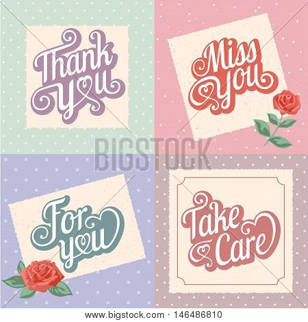 Vector typography design, Thankyou, Miss you, Take care, For you