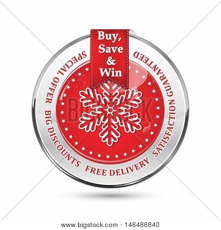 Sales winter holidays advertising icon - buy, save and win. Special offer, big discounts, free delivery, satisfaction guaranteed. Contains a big snowflake
