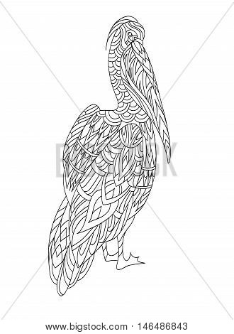 Coloring book page. Ornamental flowers and fantasy bird. Vector illustration hand drawn. Line art.
