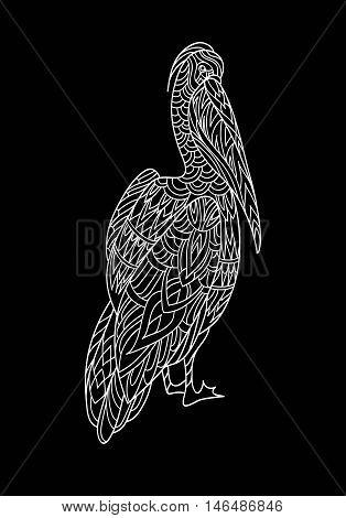 Pelican. Fantasy ornamental bird hand drawn. Black and white vector illustration. Folk design. Line art. T-shirt designs.