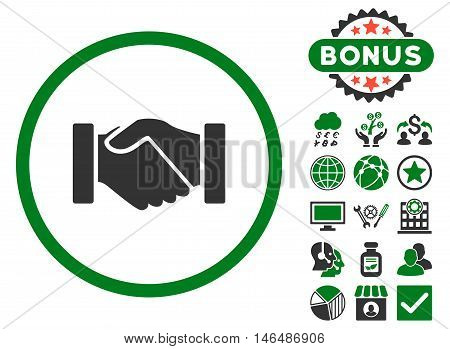 Acquisition Handshake icon with bonus. Vector illustration style is flat iconic bicolor symbols, green and gray colors, white background.