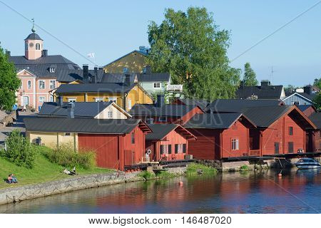PORVOO, FINLAND - JUNE 13, 2015: On a sunny june day in the old town of Porvoo. Historical landmark of the city Porvoo