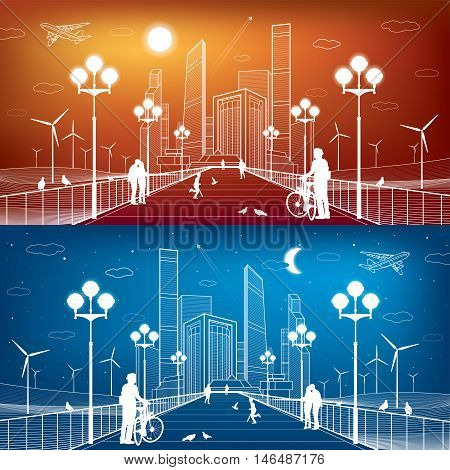 City scene. Street lights. Business center, skyscrapers and towers. Infrastructure illustration, futuristic town, wind turbines, airplane fly, people walking on bridge. White lines, vector design art