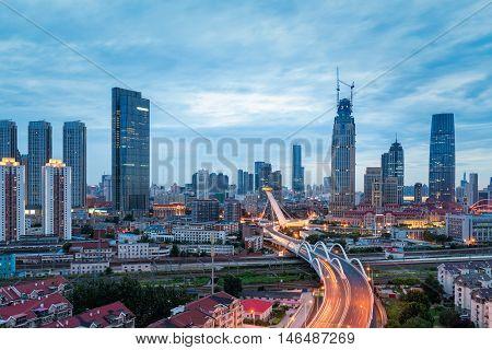 urban scene in tianjin at dusk China