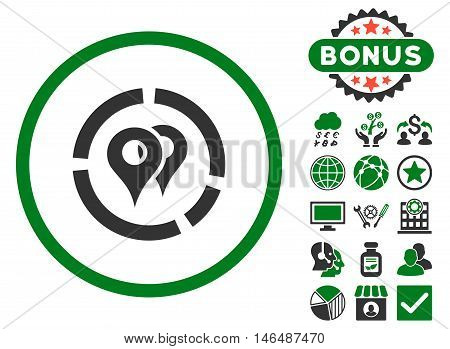 Geo Diagram icon with bonus. Vector illustration style is flat iconic bicolor symbols, green and gray colors, white background.